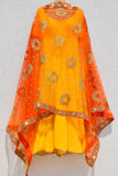 Bumblebee Yellow Anarkali With Fire Ombre Dupatta CLOSE