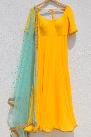 Bumblebee Yellow Anarkali With Turquoise Blue Sequins Dupatta FRONT