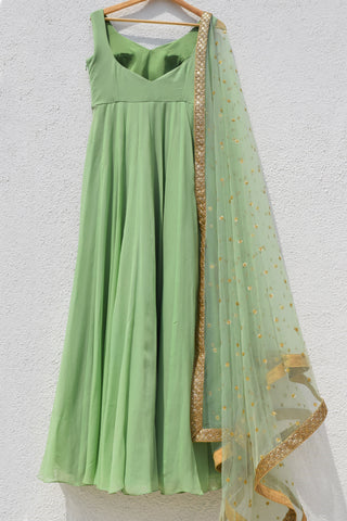 Sage Green Anarkali With Sage Green Sequins Dupatta