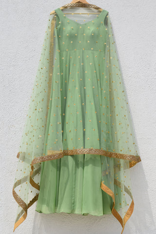 Sage Green Anarkali With Sage Green Sequins Dupatta FRONT