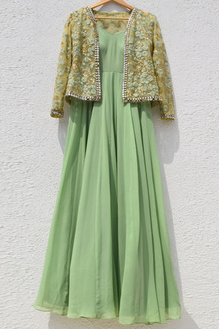 Sage Green Anarkali With Embroidered Mirror Work Jacket FRONT