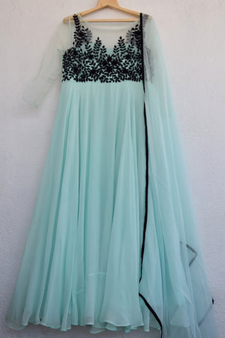Sea Green & Black Anarkali Set