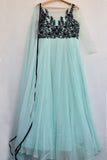 Sea Green & Black Anarkali Set FRONT