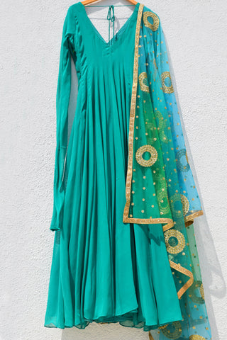 Pine Green Anarkali With Ombre Sequins Dupatta