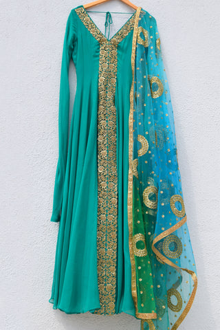 Pine Green Anarkali With Ombre Sequins Dupatta FRONT