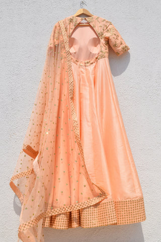 Sweet Peach Anarkali Set