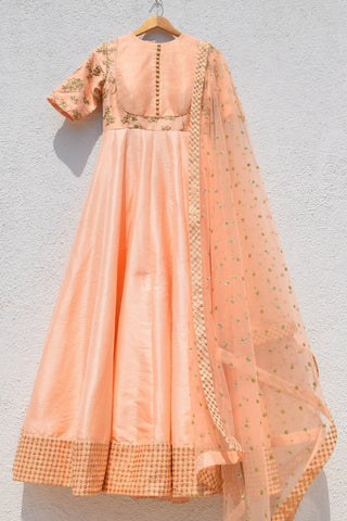 Sweet Peach Anarkali Set FRONT