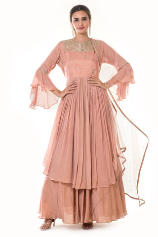 Rose Gold Hand Embroidered Gown & Dupatta FRONT