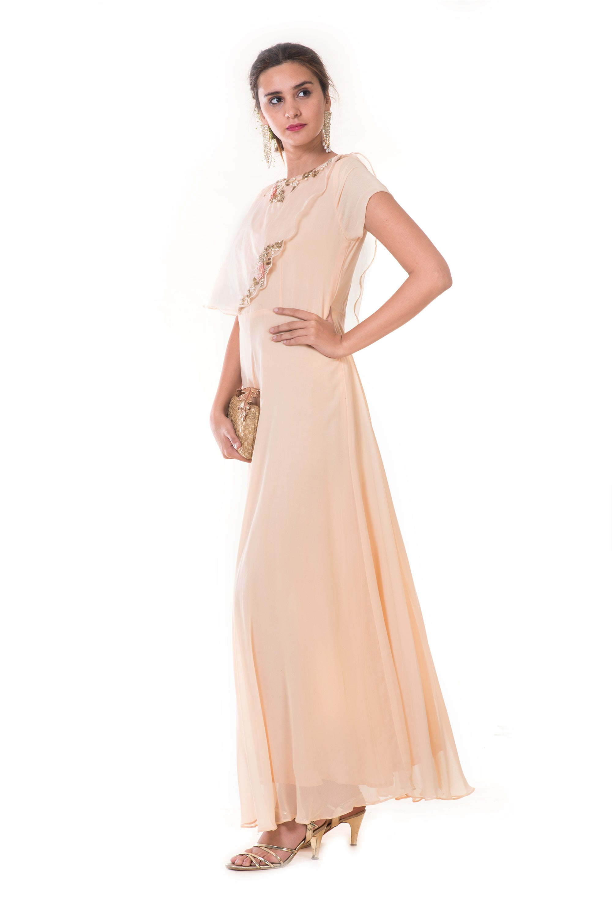 Beige Hand Embroidered Cape Gown SIDE