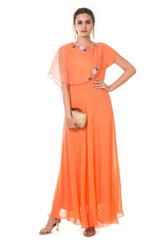 Orange  Hand Embroidered Cape Gown FRONT