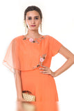 Orange  Hand Embroidered Cape Gown CLOSE