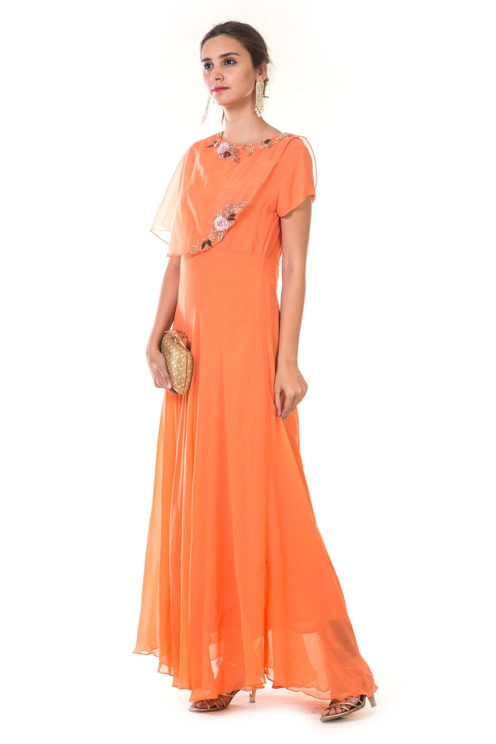 Orange  Hand Embroidered Cape Gown SIDE