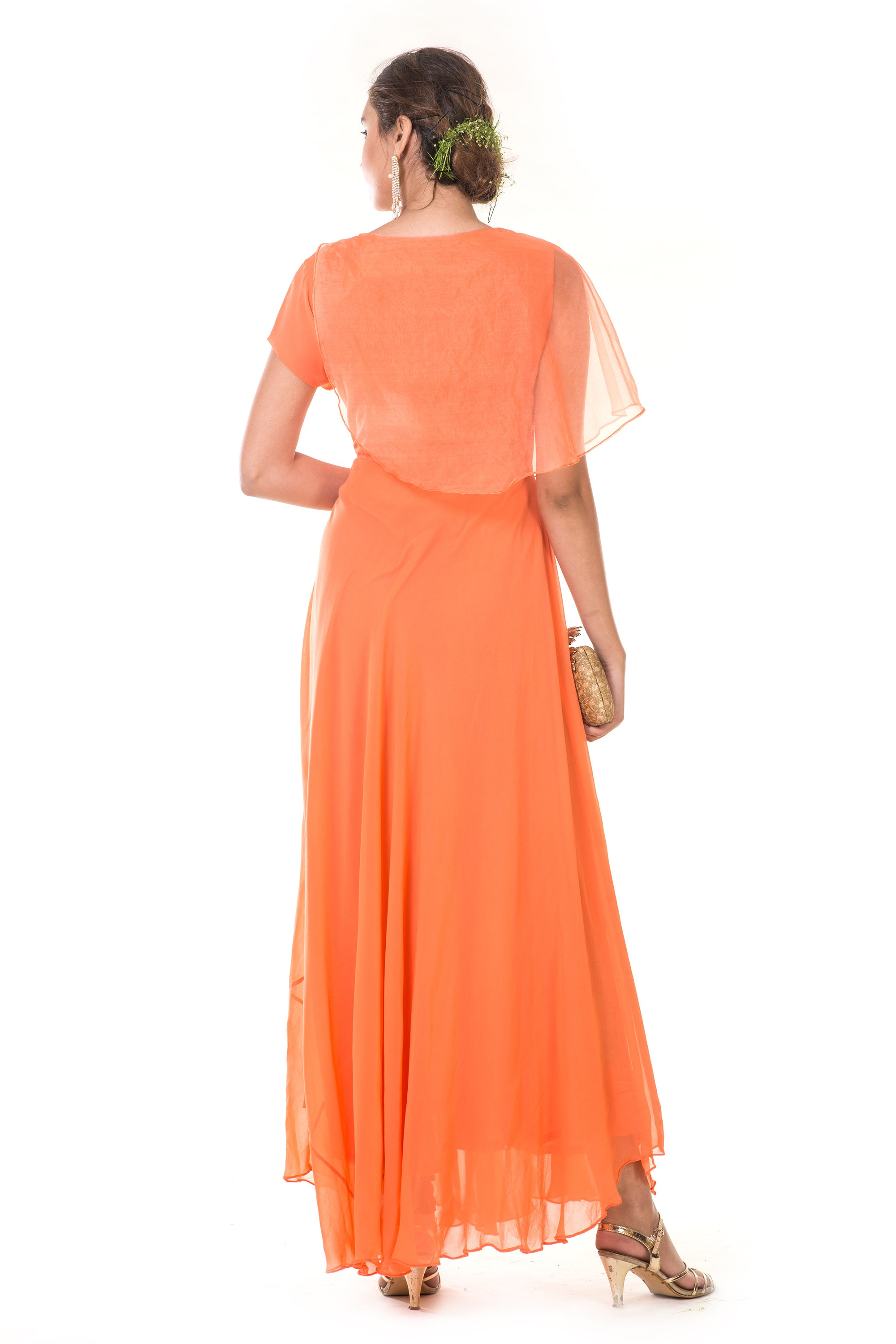 Orange  Hand Embroidered Cape Gown BACK