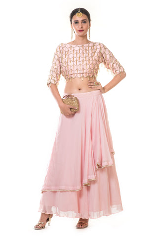 Pink Heavy Scallop Embroidered Blouse & Skirt FRONT