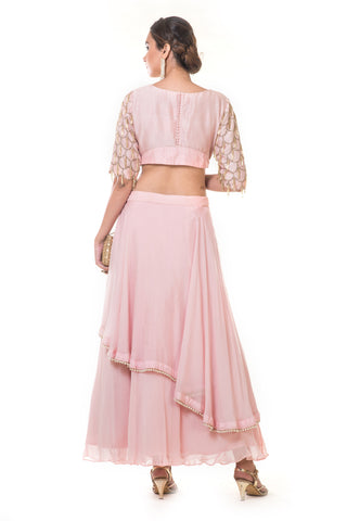 Pink Heavy Scallop Embroidered Blouse & Skirt