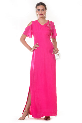 Pink Cold Shoulder Gown FRONT