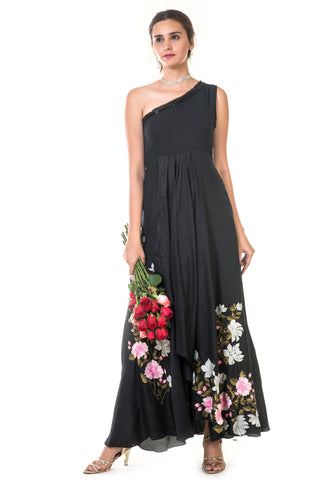 Black Floral One Shoulder Gown FRONT