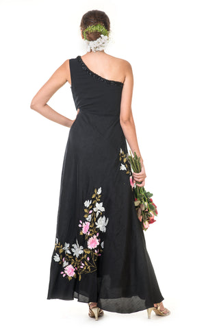 Black Floral One Shoulder Gown