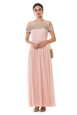 Peach Pink Cold Shoulder Gown FRONT