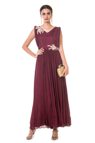 Maroon Hand Embroidered Pleated Gown FRONT