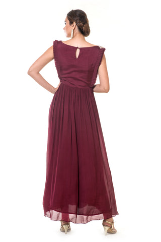 Maroon Hand Embroidered Pleated Gown