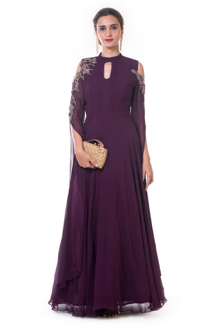 Plum Gown with Long Slit Sleeves FRONT