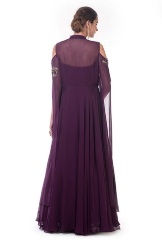 Plum Gown with Long Slit Sleeves