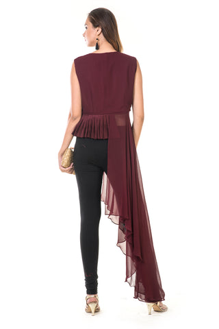 Wine Maroon Asymmetrical Pleated Tunic
