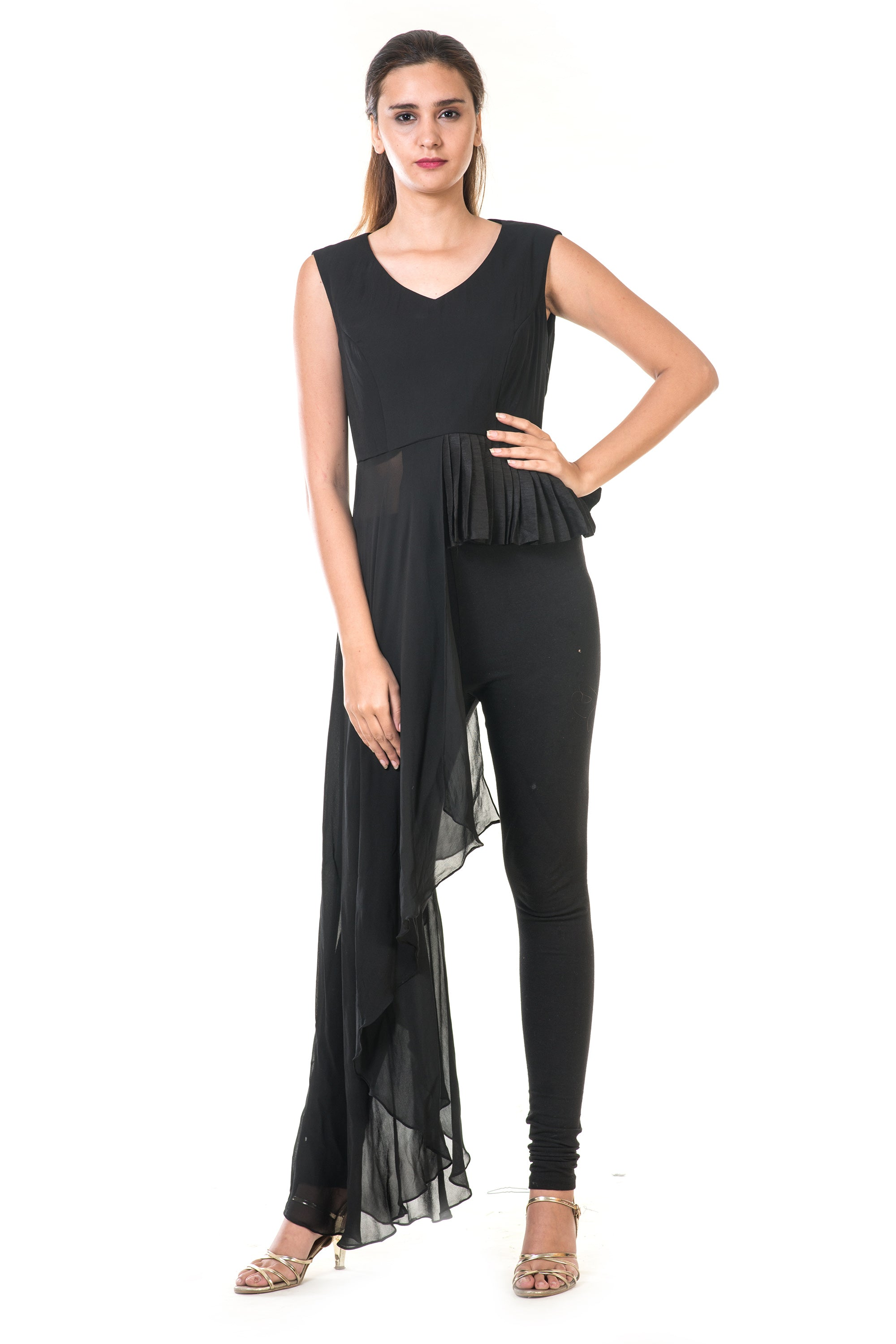 Black High Low Peplum Pleated Top FRONT
