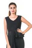 Black High Low Peplum Pleated Top CLOSE