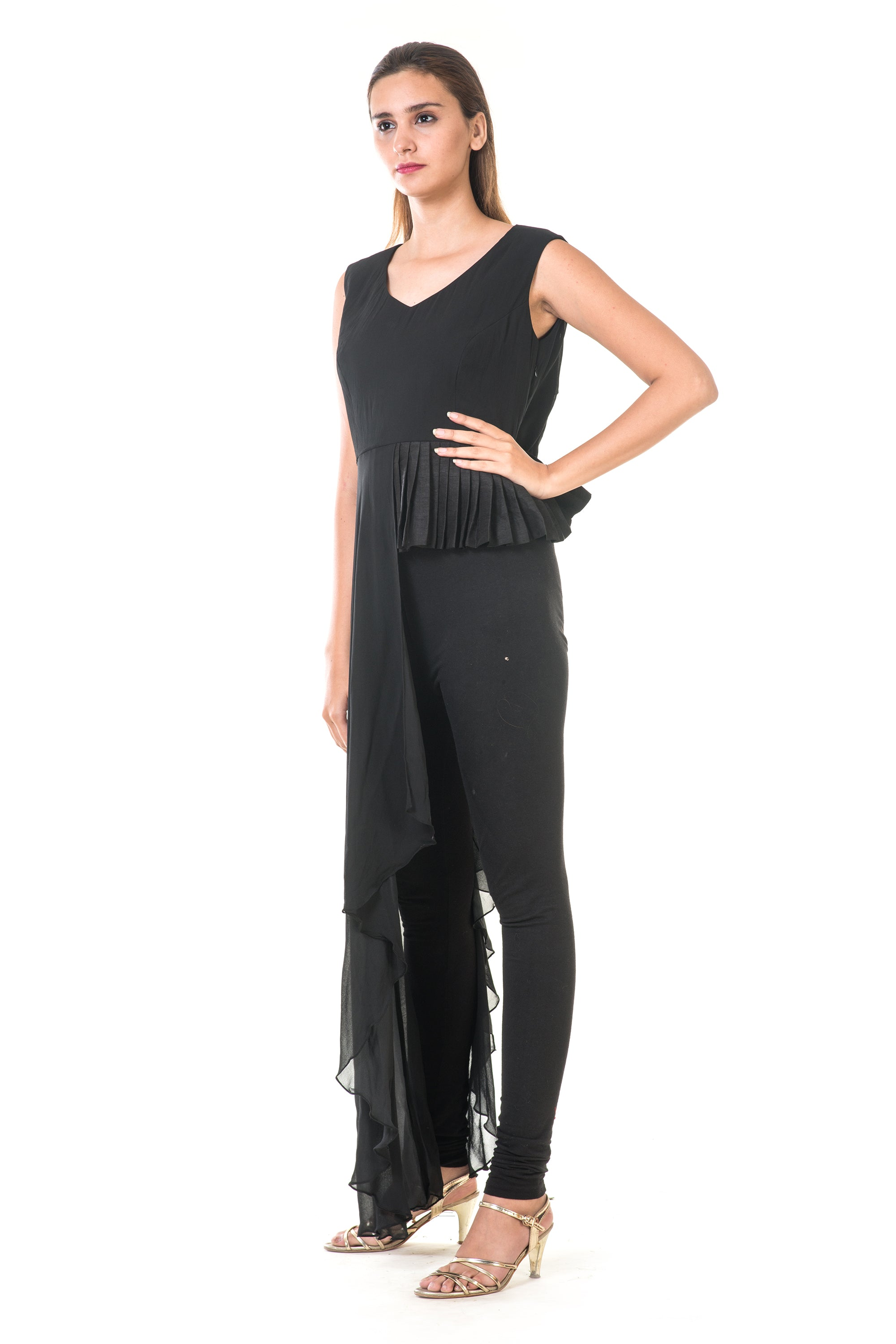 Black High Low Peplum Pleated Top SIDE