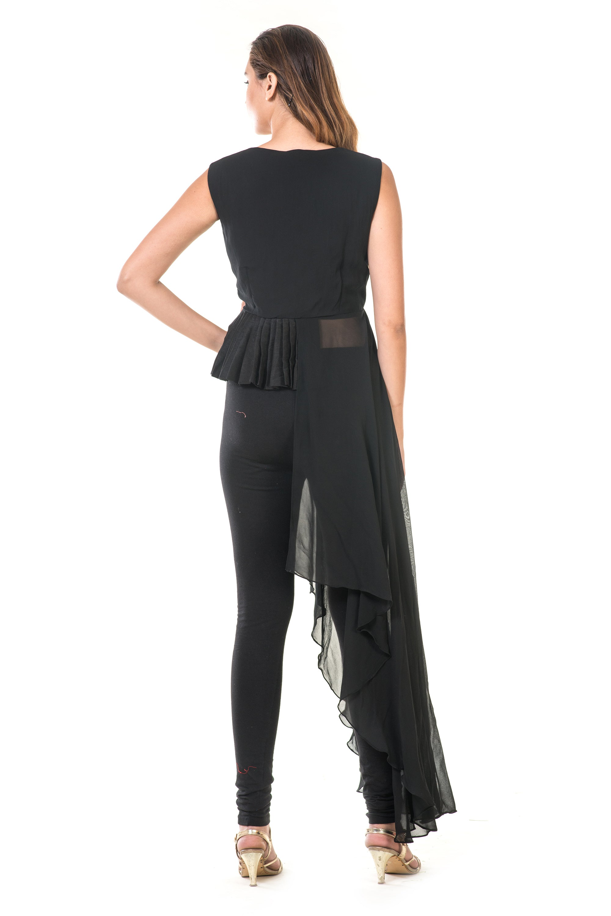Black High Low Peplum Pleated Top BACK
