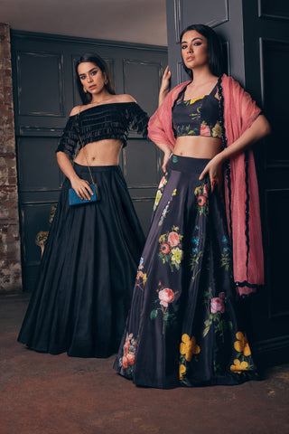Black Floral Print Lehenga Set With Coral Dupatta
