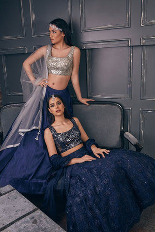 Silver Mirror Blouse With Mia Lace Navy Skirt & Silver Dupatta FRONT