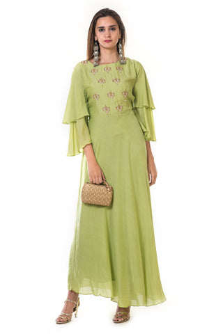 Parrot Green Bell Sleeves Gown FRONT