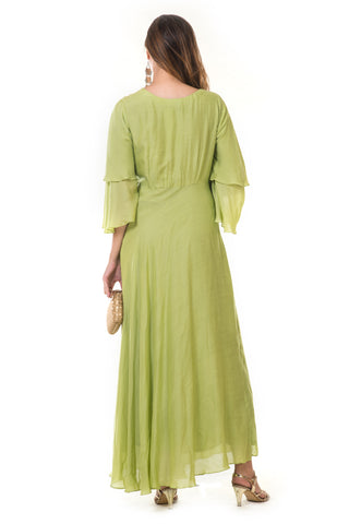 Parrot Green Bell Sleeves Gown