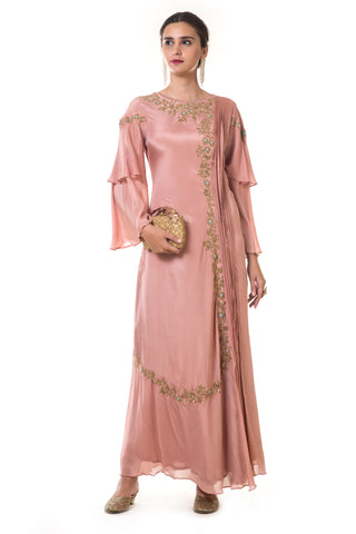 Pink Gold Double Layer Gown FRONT
