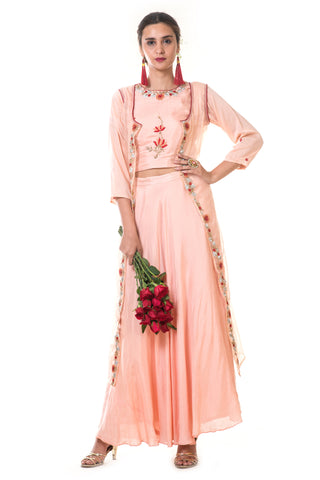 Peach Floral Embroidered Cape Set FRONT