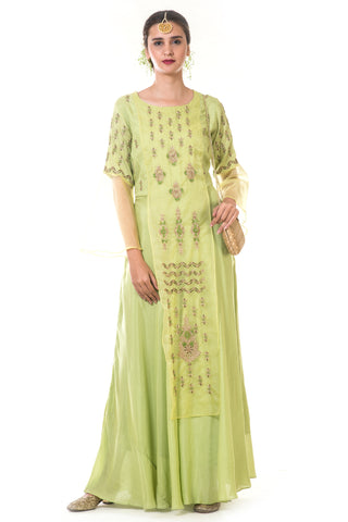 Green Hand Embroidered Zardosi Layered Gown FRONT