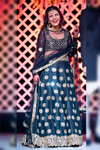 Black Mirror Work Lehenga Set FRONT