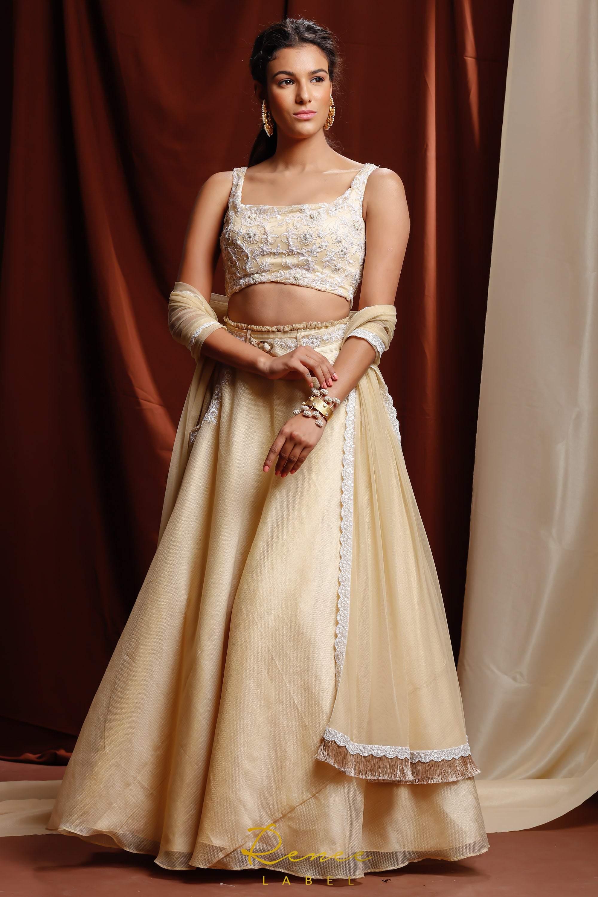 Light Gold & Ivory Tara Lehenga SIDE