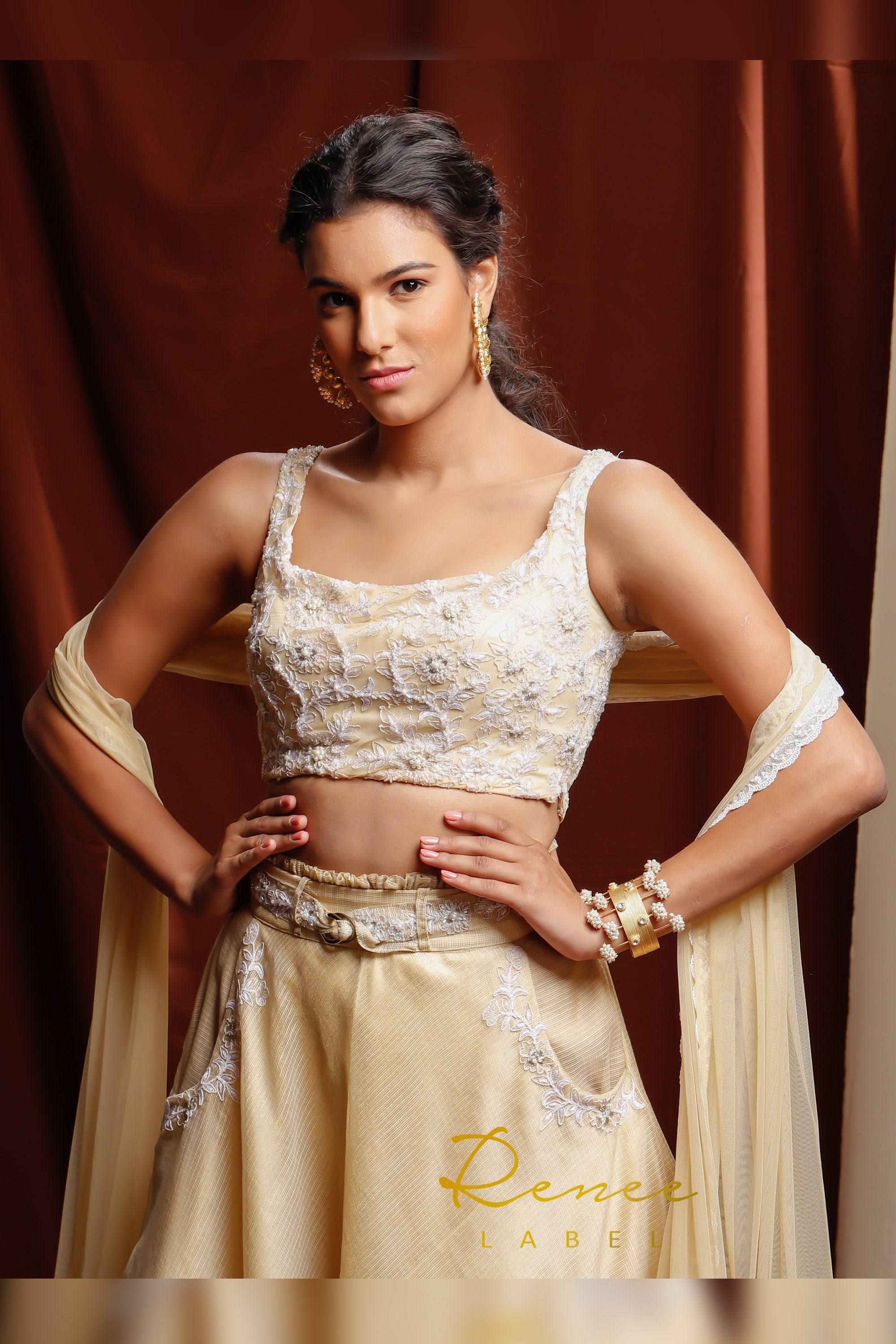 Light Gold & Ivory Tara Lehenga CLOSE