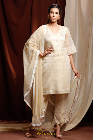 Light Gold & Ivory Zareen Suit FRONT