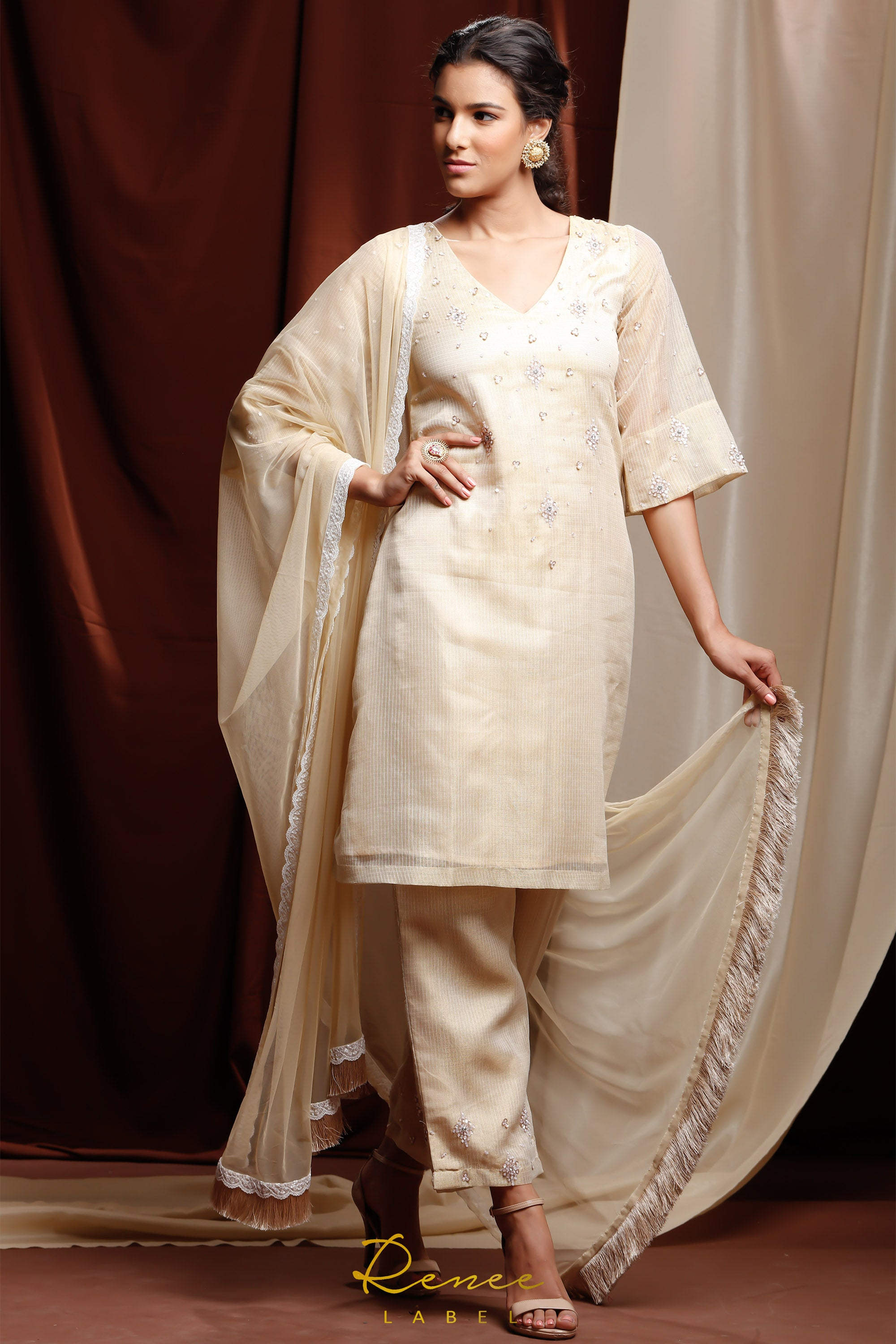 Light Gold & Ivory Zareen Suit SIDE