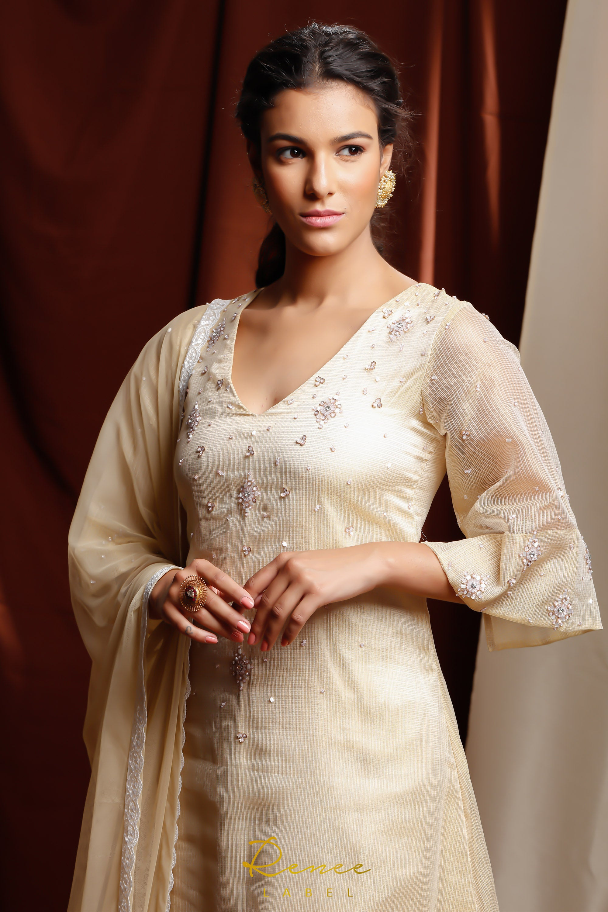 Light Gold & Ivory Zareen Suit CLOSE