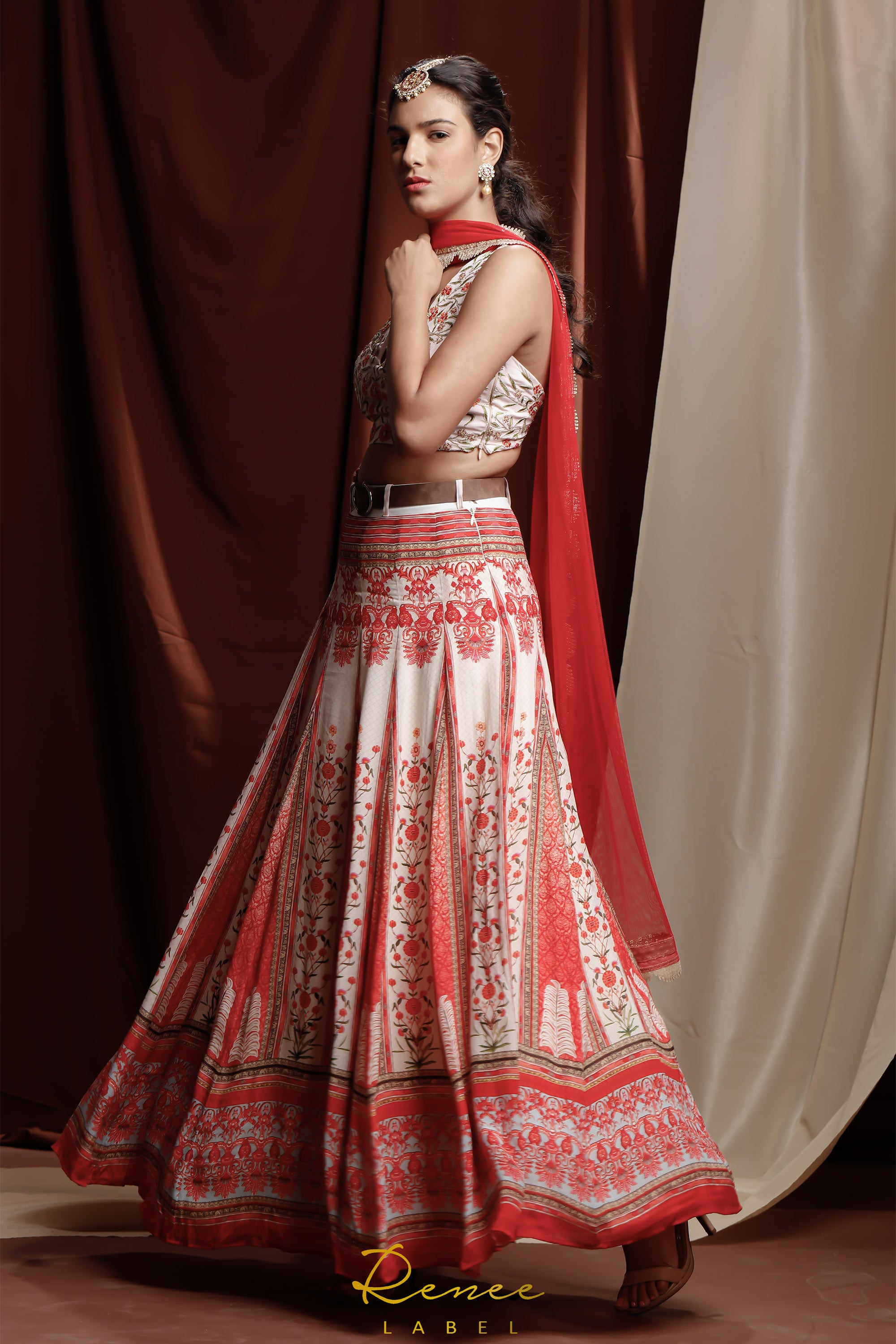 Red Zahra Lehenga SIDE