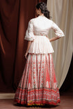 Red Noor Lehenga BACK