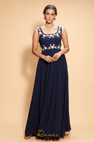 Navy Blue Estere Gown FRONT