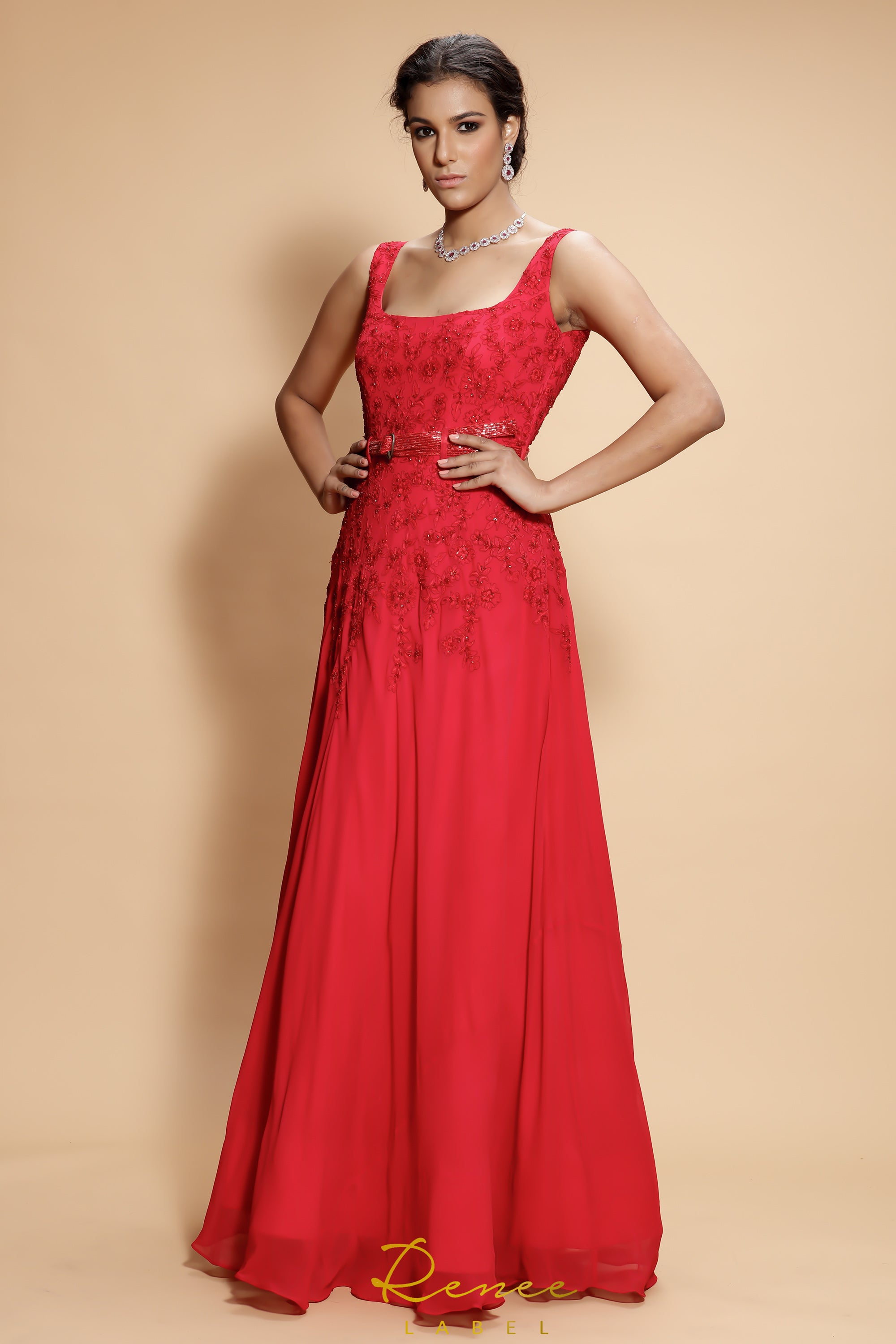 Red Carmine Gown SIDE