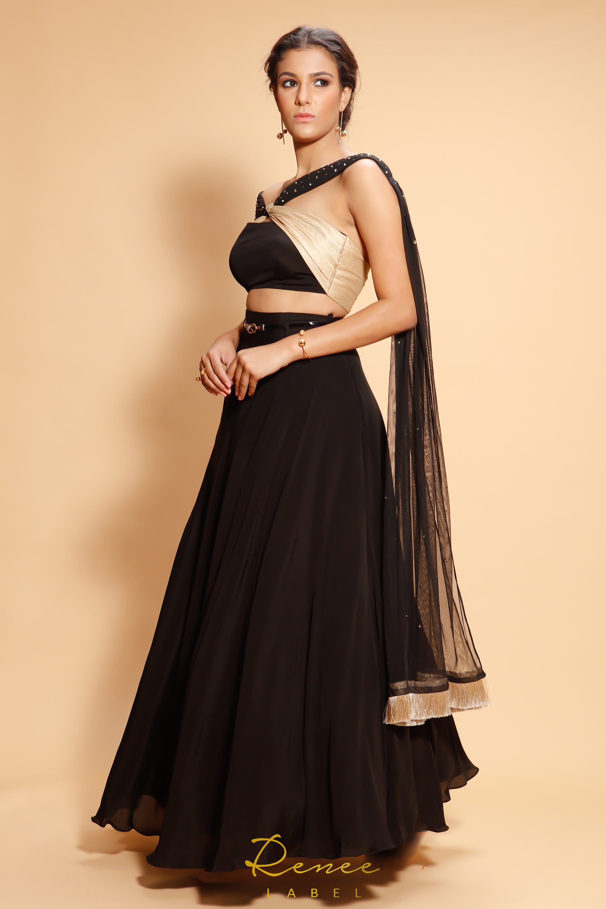 Black Clara Lehenga SIDE